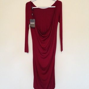 MISSGUIDED| dark red long draped backless dress